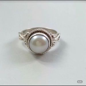 Vintage Round Pearl 925 Sterling Silver Ring